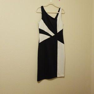 NWOT navy and white mid length v back dress